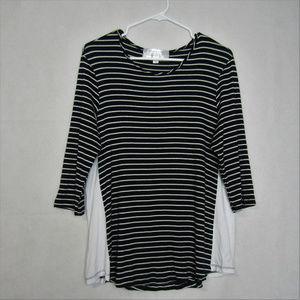 Amour Vert Stitch Fix Striped Navy White Shirt M